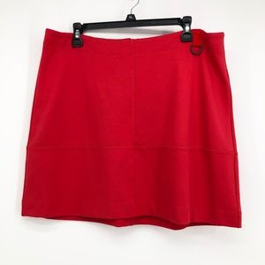 Kenneth Cole Red Stretch Knit High-Rise Skirt